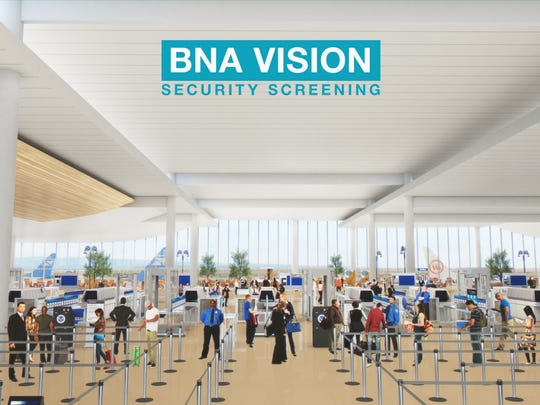 Security screening lines could increase to 24 from the current 10 under a massive expansion planned for Nashville International Airport.