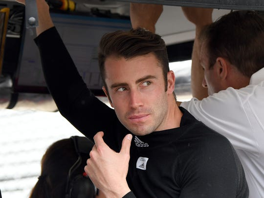 Foyt with Byrd Racing IndyCar driver James Davison (33) before practice at the Indianapolis Motor Speedway on Sunday, May 21, 2018.