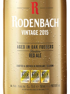 Rodenbach Vintage 2015, from Brouwerij Rodenbach in Roeselare, Belgium, is 7% ABV.