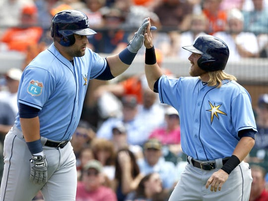 """Kyle Roller, left, gets a high five from Taylor Motter after a two-run homer in the second. """"I'd like to get that one back,"""" Greene said."""