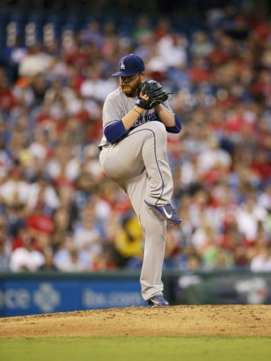 The Dodgers' Brett Anderson winds up during Wednesday's game against the Philadelphia Phillies.