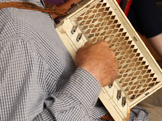 A student in Preston Frank's accordion class plays