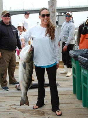 Alexis Shultz won the Female Angler Category at the Hi-Mar Spring Striped Bass Tournament with this 25.4-pound bass.
