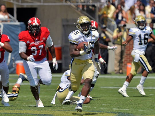 Georgia Tech running back Jerry Howard (15) breaks away for a touchdown during the second half of an NCAA college football game against Jacksonville State, Saturday, Sept. 9, 2017 in Atlanta. Georgia Tech defeated Jacksonville State 37-10. (Hyosub Shin/Atlanta Journal-Constitution via AP)