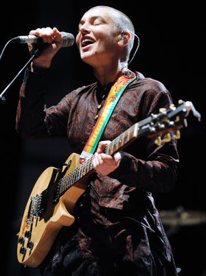 Irish singer Sinead O'Connor performs on Aug. 11, 2013, in Lorient, west of France, during the Inter-Celtic Festival of Lorient.