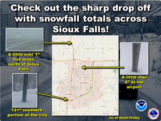 Snowfall totals in Sioux Falls.