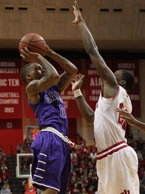 Dec 13, 2014: Grand Canyon Antelopes guard DeWayne Russell (0) shoots over Indiana Hoosiers guard Stanford Robinson (22) during the second half at Assembly Hall. Indiana defeated Grand Canyon 94-66.