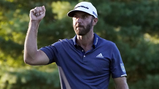 Dustin Johnson reacts to his birdie on the 17th hole during the third round of the Northern Trust golf tournament at TPC Boston on Saturday in Norton.