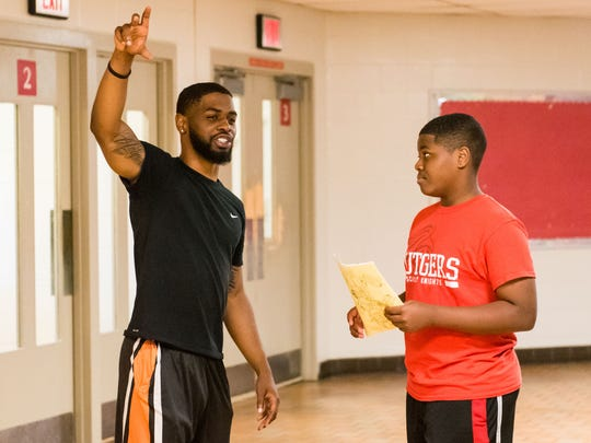 Juwan Flowers gives direction to his incoming freshman