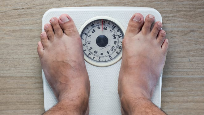 Weighing on analog Weight Scale