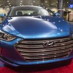 Hyundai's redesigned Elantra is displayed at the Hyundai Motor Manufacturing Alabama plant in Montgomery, Ala., on Wednesday, Nov. 18, 2015.