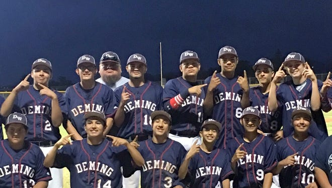"""The Deming High School Wildcat Junior Varsity Baseball Team rolled through a District 3-5A schedule undefeated (12-0) and wrapped up a league championship with a double-header sweep last Friday at Alamogordo, 4-0 and 15-3. The team compiled a 20-5 overall record and showed promise and potential for a varsity future. """"Our players worked hard all year long and showed great growth throughout the season,"""" said DHS Coach Johnny Pacheco. """"Each player had a significant role which contributed to the successful season."""" The team is, standing, from left, Coach Luis Carreon, Chris Chacon, Jose Martinez Jr., Alex Carrazco, Coach Jose Martinez, Gabriel Reza, Robert Ruiz, Christian Pacheco, Brandon Villegas, Creighton Apodaca, Marko Crossland, and Head Coach Johnny Pacheco. Kneeling, from left, Justin Morales, Jesse Varela, Jacob Mendoza,  Ferno Milo, Isaiah Chavez, James Palomares and manager Johnathon Morales (not pictured was Anthony Almanza)."""