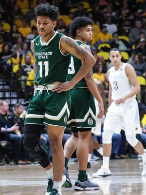 Jan 13, 2018; Laramie, WY, USA; Colorado State Rams guard Prentiss Nixon (11) reacts against the Wyoming Cowboys during the first half at Arena-Auditorium. Mandatory Credit: Troy Babbitt-USA TODAY Sports