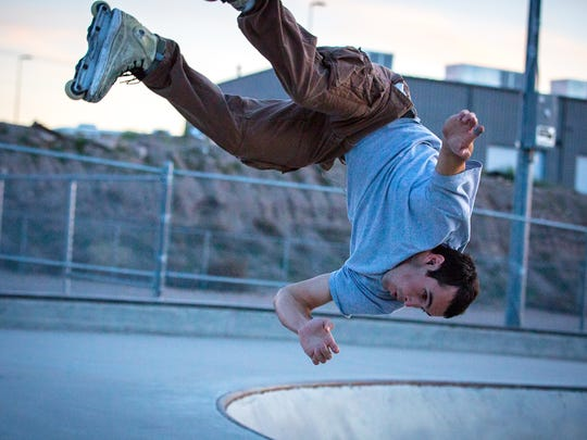 Domonic Blanca performs a flip at the Las Cruces Skatepark in March 2016. Las Cruces city councilors on Monday, Aug., 25, discussed renovating the park versus building a new one.