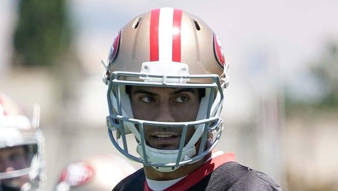 San Francisco 49ers quarterback Jimmy Garoppolo (10) during warmups at the SAP Performance Facility.