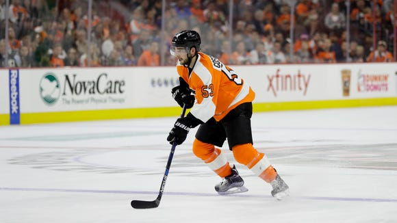 Shayne Gostisbehere had two assists Monday night in a 4-3 overtime win over the New York Rangers.