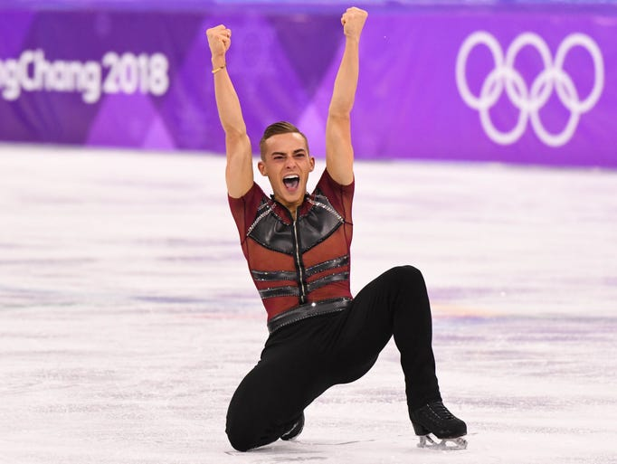 Rippon competes in the men's figure skating short program