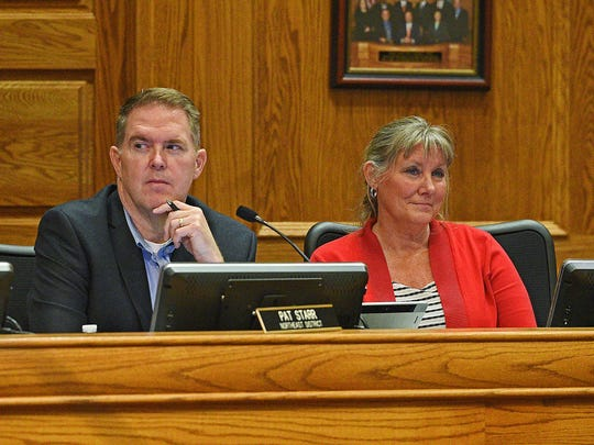 Sioux Falls City Council Members Pat Starr, left, and