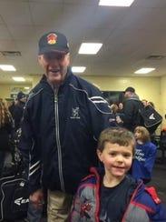 Gordie Howe with 6-year-old Gordie Pierce, who was