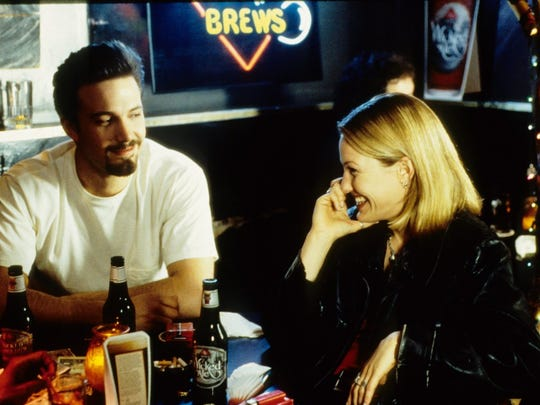 "Ben Affleck and Joey Lauren Adams in a scene from ""Chasing Amy"" (1997)."