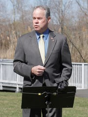 Rockland County Executive Ed Day talks to attendees during ground breaking ceremony at Haverstraw Bay County Park for a future memorial for the serviceman of Rockland County who died in Afganistan and Iraq on Wednesday, March 30, 2016.