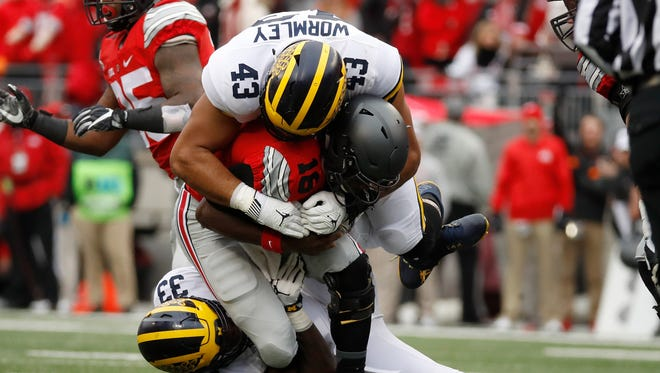 DE Chris Wormley. Projected round: 3-4. Caught between two positions, teams have seen some pass rush skills from him but he has a defensive tackle's body. There are players his size who have succeeded as an end, but his NFL position may depend on the team and the defense. He might be better outside in a three-man front.