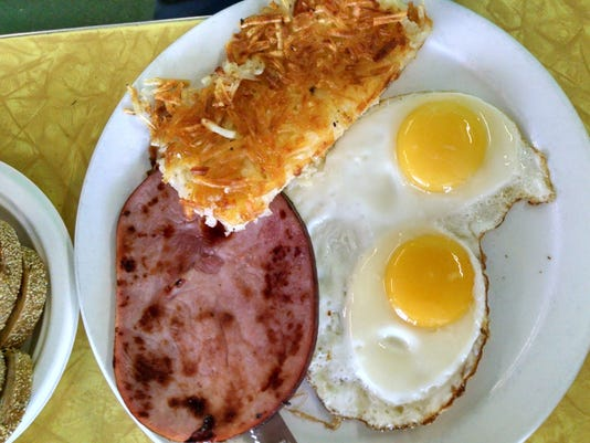 TDS EV Food 0612 ham & eggs sunny side up