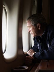 President Bush surveys New Orleans on Aug. 31, 2005,