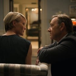 "Robin Wright and Kevin Spacey in Season 3 of Netflix's ""House of Cards."""