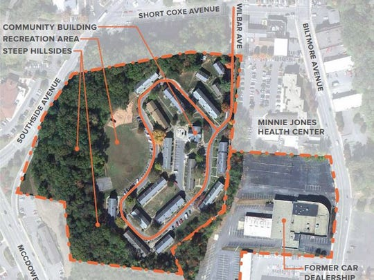The current layout of Lee Walker Heights, plus land to the east owned by Duke Energy that will be used for a second access road.