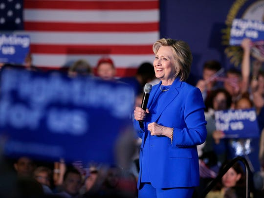 Hillary Clinton speaks at a rally in Louisville on
