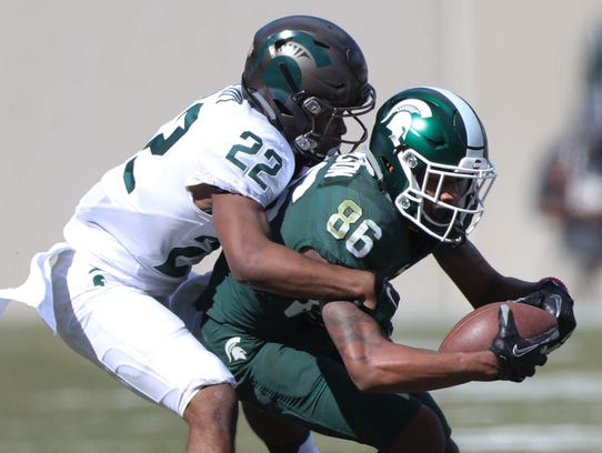 Michigan State receiver Trishton Jackson makes a catch