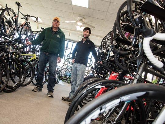 Co-owners of Shrewsbury Bicycles Scott Doran, left,