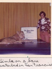 Simba reclines on a waterbed at a trade show in San Francisco in the early '70s.