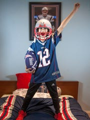Rohan Nelson, 9 of Voorhees, has been crazy about the New England Patriots since he was a toddler.