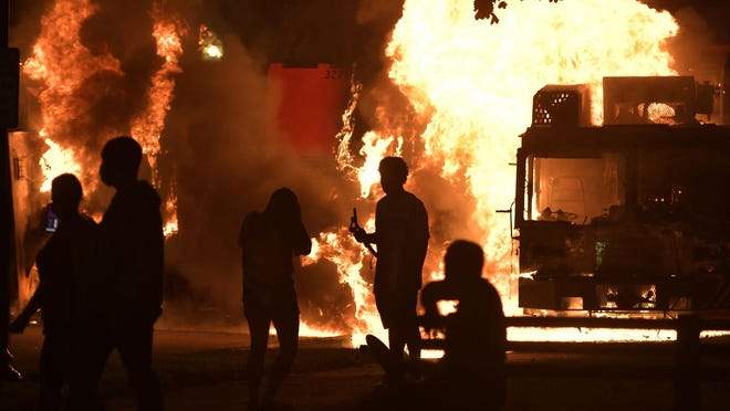 Garbage and dump trucks were set ablaze on Sunday by rioters near the Kenosha County Courthouse where they had been set up to prevent damage to the building. The building was still damaged and was closed on Monday.