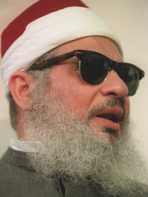 Sheik Omar Abdel-Rahman, shown in this April 6, 1993 photo, was convicted Sunday, Oct. 1, 1995, of directing militant Muslims to kill scores of Americans with bombs and frighten the United States into changing its Middle East policies. Sheik Abdel-Rahman and nine others were charged with a conspiracy to bomb the United Nations, FBI headquarters in Manhattan, two tunnels and a bridge on a single day in New York in 1993.