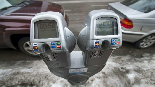 Smart meters in the first block of East Philadelphia Street.