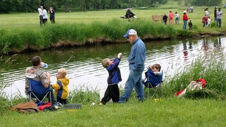 Families fishing at Warner Park