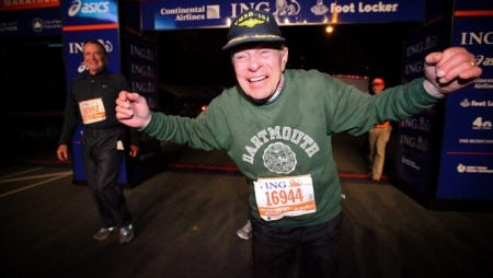 Jonathan Mendes as he completes the 2010 ING New York City Marathon at age 80.