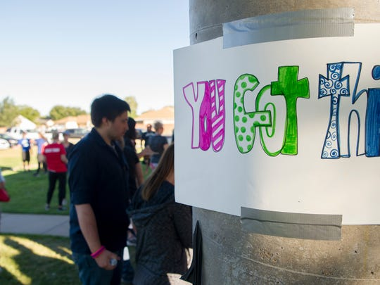 Walkers participate in the Out of the Darkness suicide prevention march at Bicentennial Park in Cedar City Saturday, September 15, 2018. Around 400 walkers gathered to raise money and awareness for people suffering from depression and suicidal thoughts.