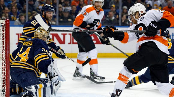 The Flyers beat the Sabres in Buffalo Sunday night.