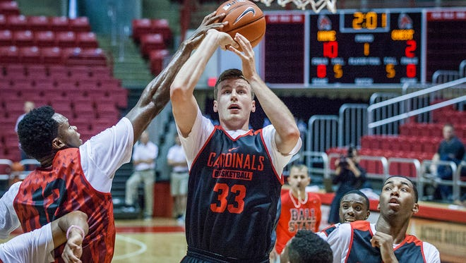 Ball State's Ryan Weber shoots during practice at Worthen Arena on Friday, Oct. 2, 2015.