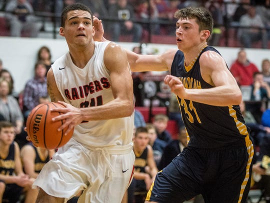 Wapahani's Jarod Hundley tries to find an opening for