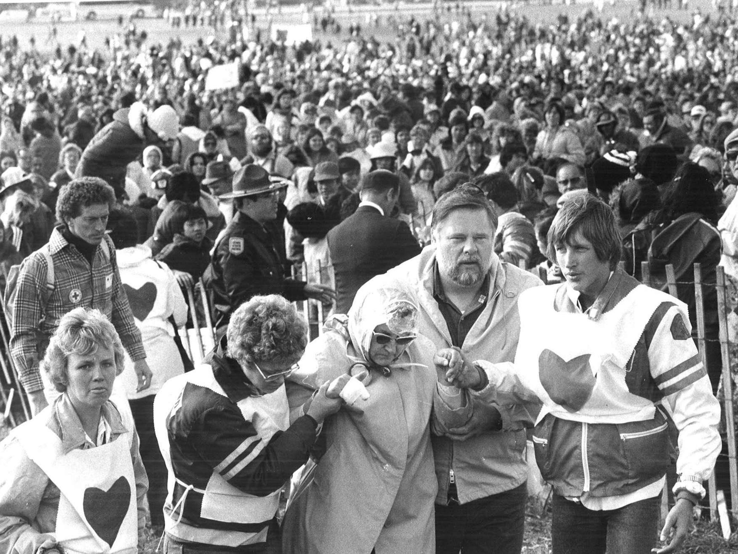 Pope John Paul II visited Iowa on a chilly day — the high was 57 degrees — but the assembled surged forward when the pontiff blessed the crowd in sections on Oct. 4, 1979.