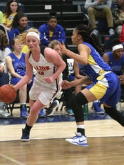Galion's Gracie Groves dribbles the ball in front of