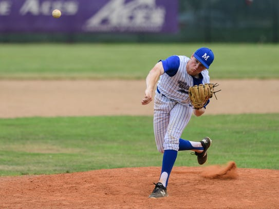 Memorial's Michael Lindauer (22) pitches during the
