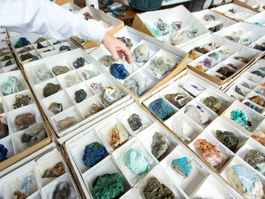 Various rocks and minerals are on display at the Arizona