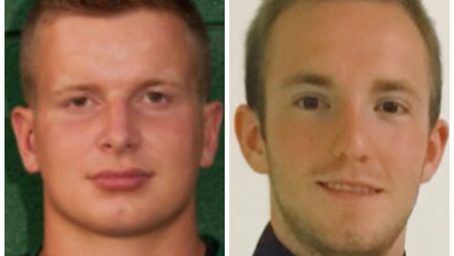 Sam Hodge, left, and Jerrid Pline have made contributions for a St. Patrick defense that has allowed just six points through four games this fall.