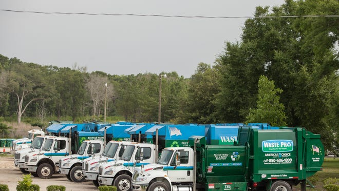 Waste Pro trucks parked at facility in Midway.